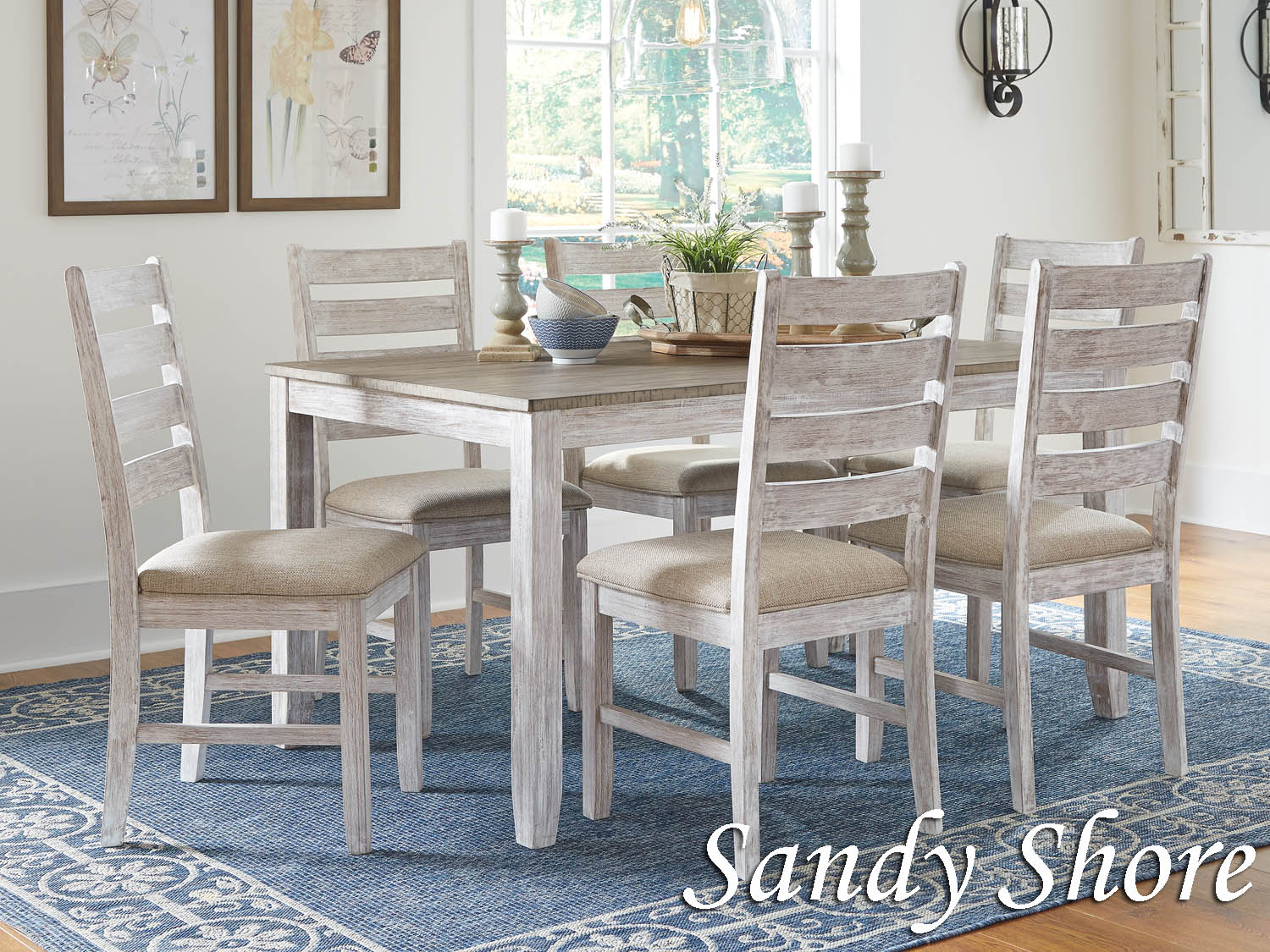 Dining Room, Table, side chairs, set, solid top, coastal, seaside, cottage, casual, Barbo's Furniture