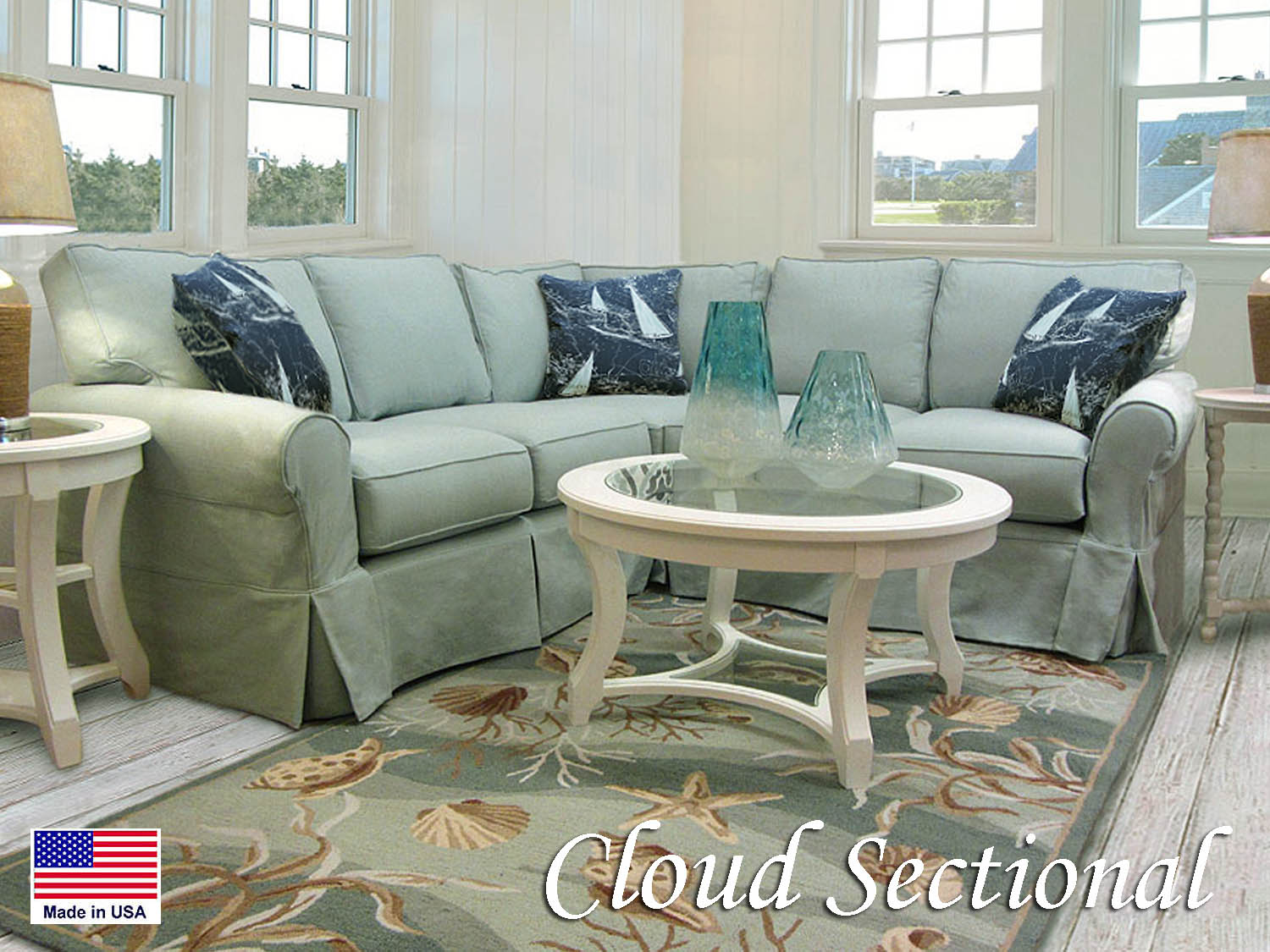 Barbo's Furniture, Cloud, Slipcovered, Sectional, Sofa, Loveseat, Living Room, Family Room, Den, Chair, Ottoman, Queen, Full, Twin, Sleeper, Coastal, Seaside, Cape Cod, Casual, Cottage, Fabric