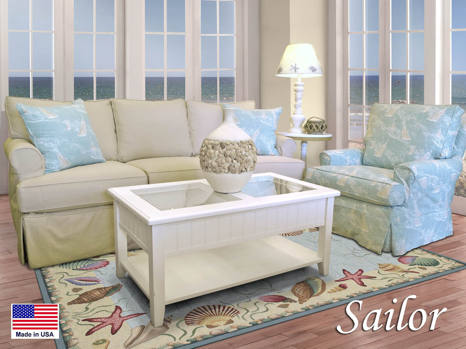 Silpcovered, Slip covered, Sofa, Swivel Glider, Living Room, Den, Family Room, Fabric, Coastal, Seaside, Casual, Cottage, Nautical, Cape Cod, Made in USA, Barbo's Furniture