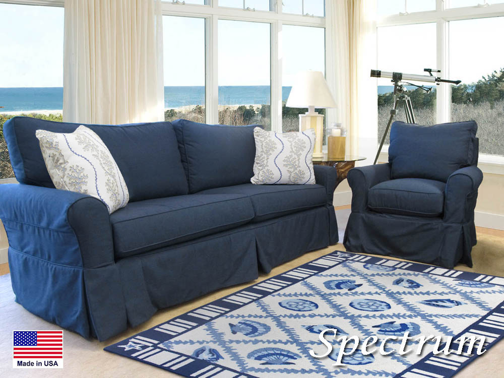 Slipcovered, slip covered, sofa, loveseat, chair, swivel glider, queen sleeper, full sleeper, sectional, Sunbrella, fabric, coastal, seaside, cottage, nautical, casual, Cape Cod, Made in the USA, Barbo's Furniture, Made in USA