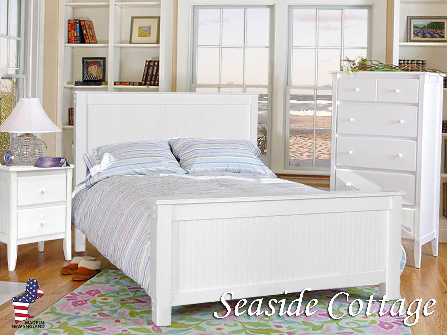 Barbo's Furniture, Seaside Cottage, Bedroom, Master, Kids, Guest, Cape Cod, Coastal, Casual, Solid, Wood, Poplar, Painted, White, Made in the U.S.A., New England, Dresser, Mirror, Chest, Nightstand, Queen, King, Full, Twin, Bed