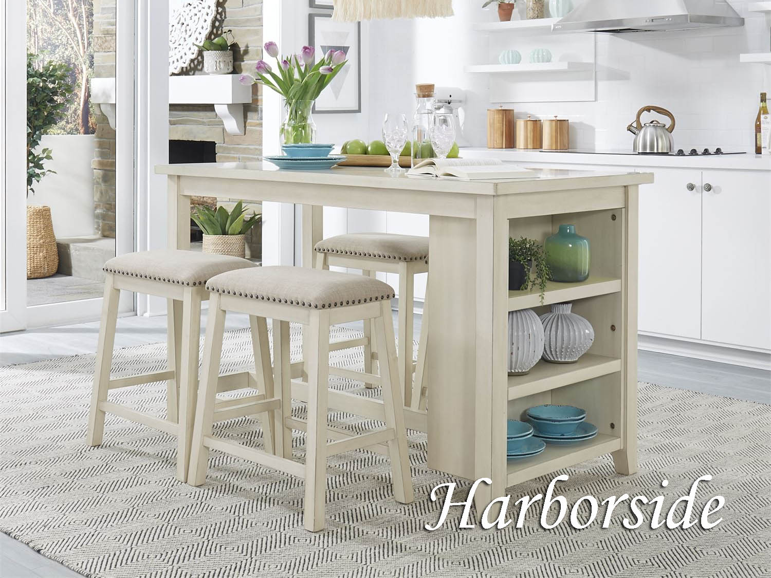 Barbo's Furniture, Harborside, Counter, Height, Dining, Dining Room, Kitchen, Kitchenette, Cape Cod, Coastal, Casual, Seaside, Veneer, Cottage, Table, Stool