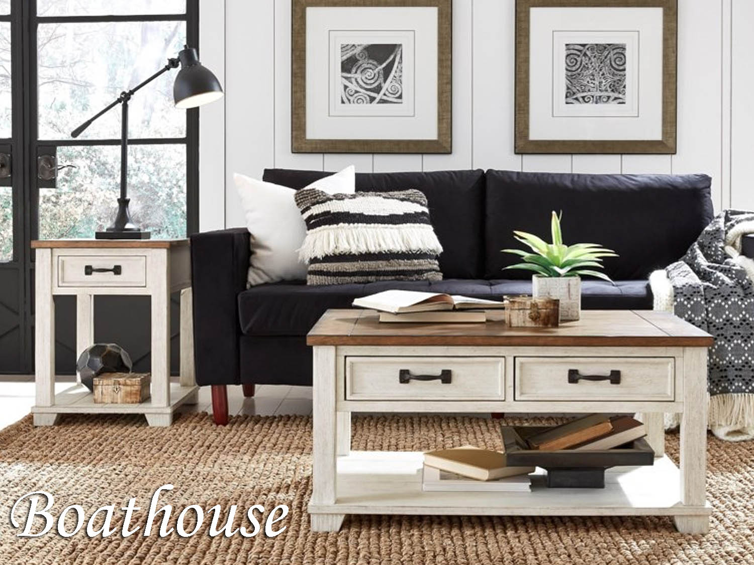 Barbo's Furniture, Boathouse, Living room, Family Room, Den, Occasional, Cape Cod, Coastal, Seaside, Transitional, Casual, two tone, white, natural, distressed, Cocktail, Coffee, End, Chairside, Sofa, Media, Table, Console