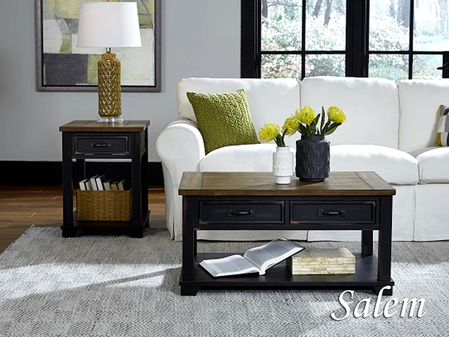 Barbo's Furniture, Salem, Living room, Family Room, Den, Occasional, Cape Cod, Coastal, Transitional, Casual, two tone, black, distressed, Cocktail, Coffee, End, Chairside, Sofa, Media, Table, Console