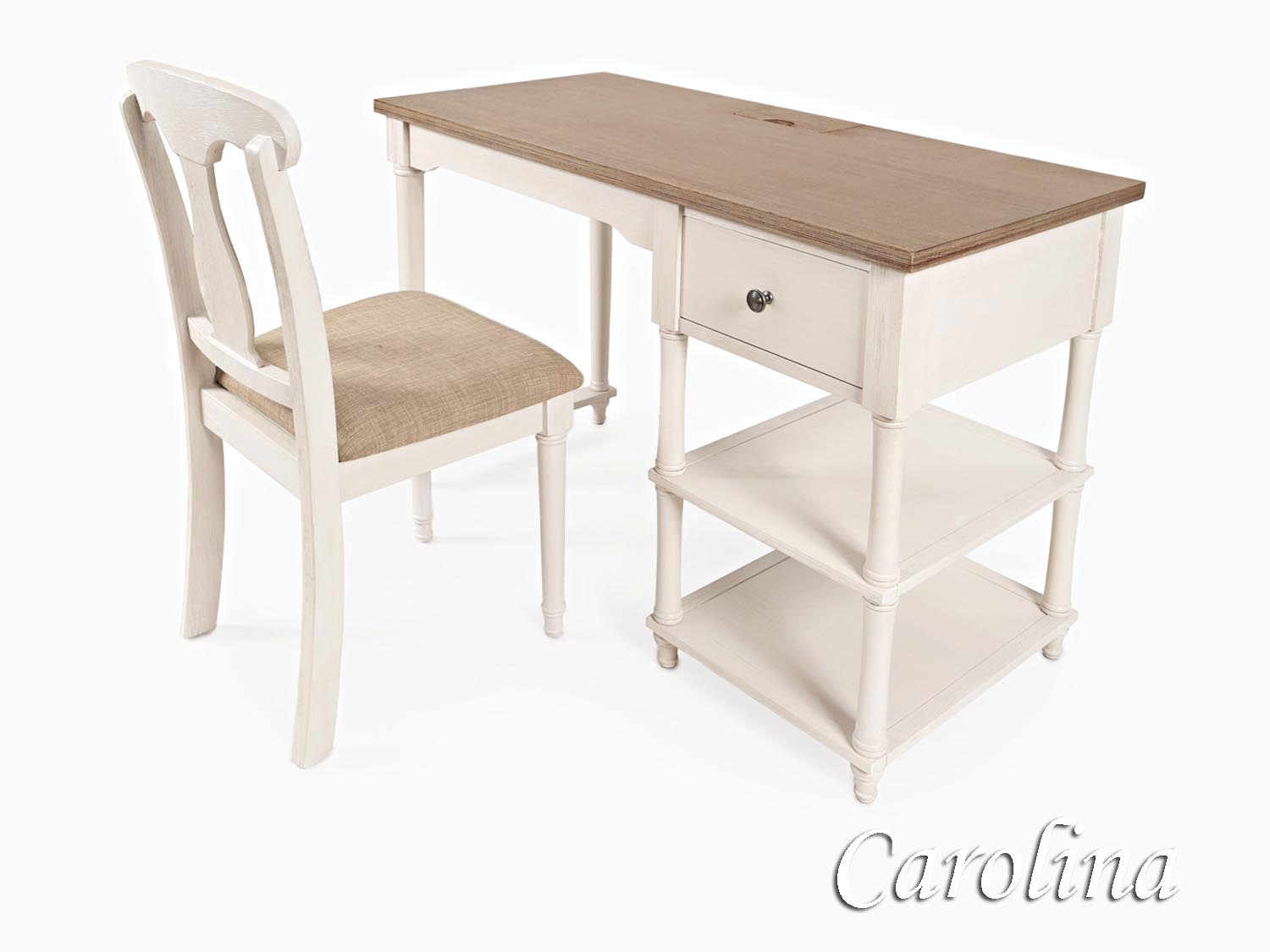 Carolina, Desk, Chair, Home Office, Cape Cod, Seaside, Coastal, Cottage, Casual, White, Driftwood, Wire Brushed