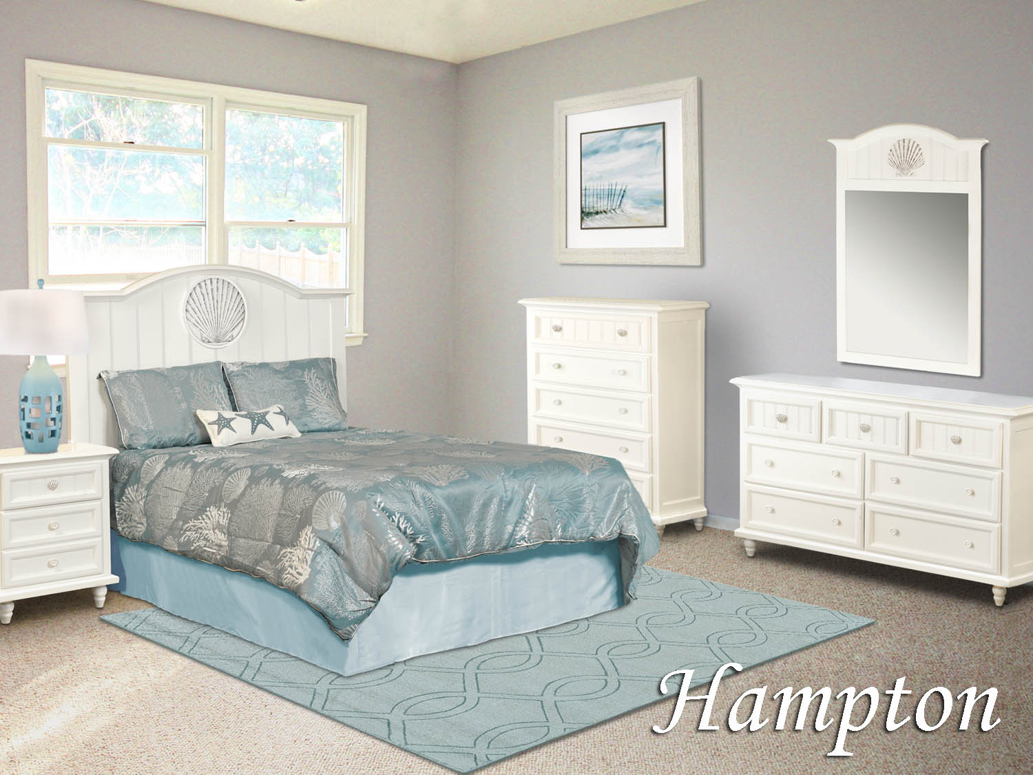 Hampton, Bedroom, white, Youth, kids, guest, master, dresser, mirror, chest, night stand, headboard, coastal, seaside, Barbo's Furniture ,