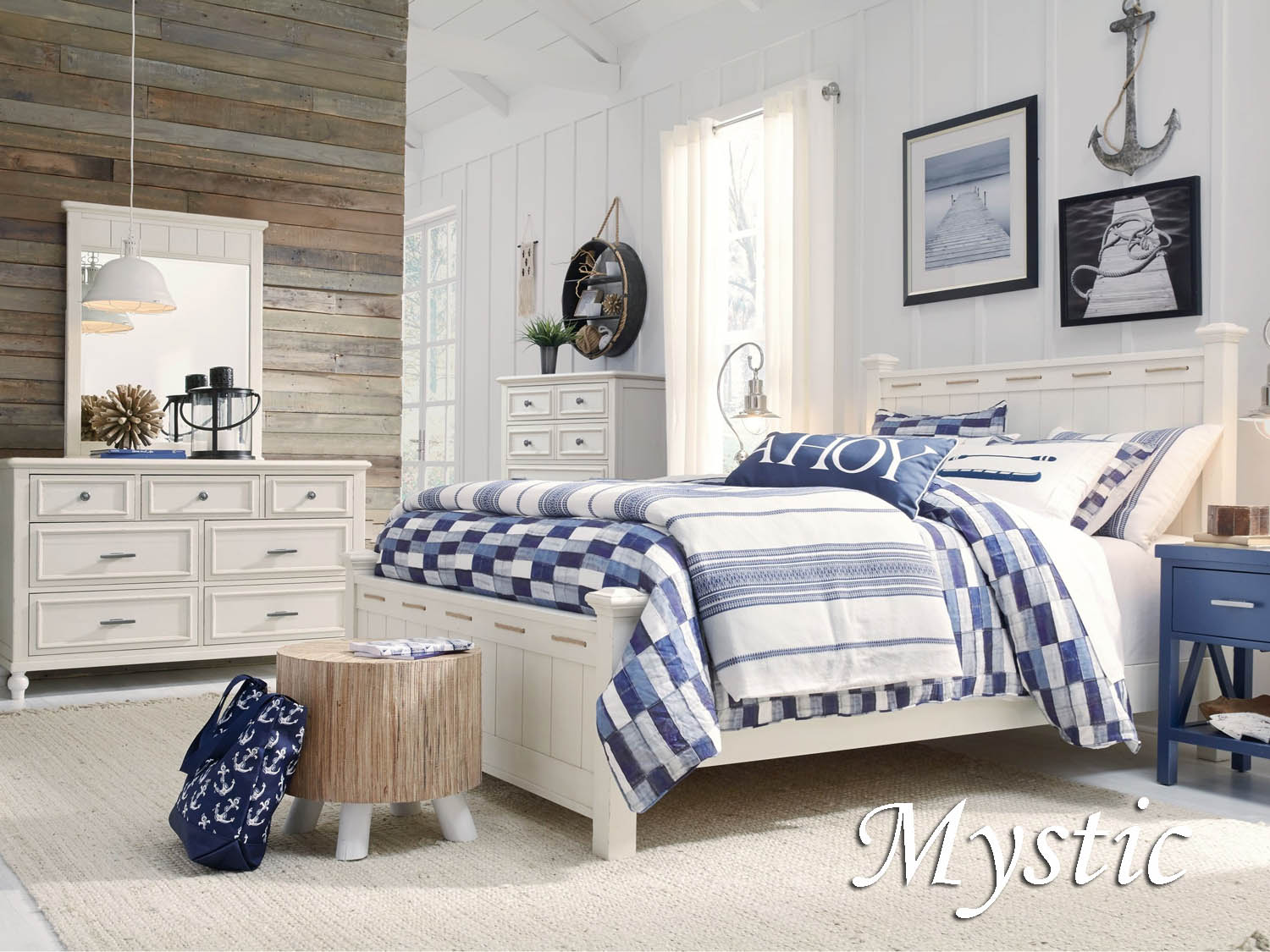 Mystic, White, bedroom, master, guest, youth, kids, bed, dresser, mirror, chest, night stand, coastal, seaside, Barbo's Furniture