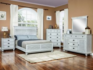 """Barbos Furniture - Island White Bedroom - Queen Panel Bed: 68""""W X 91""""L X 60""""H - Dresser: 64""""W X 18""""D X 42""""H - Mirror: 42""""W X 37""""H - Chest: 42""""W X 18""""D X 54""""H - Nightstand: 30""""W X 18""""D X 30""""H"""