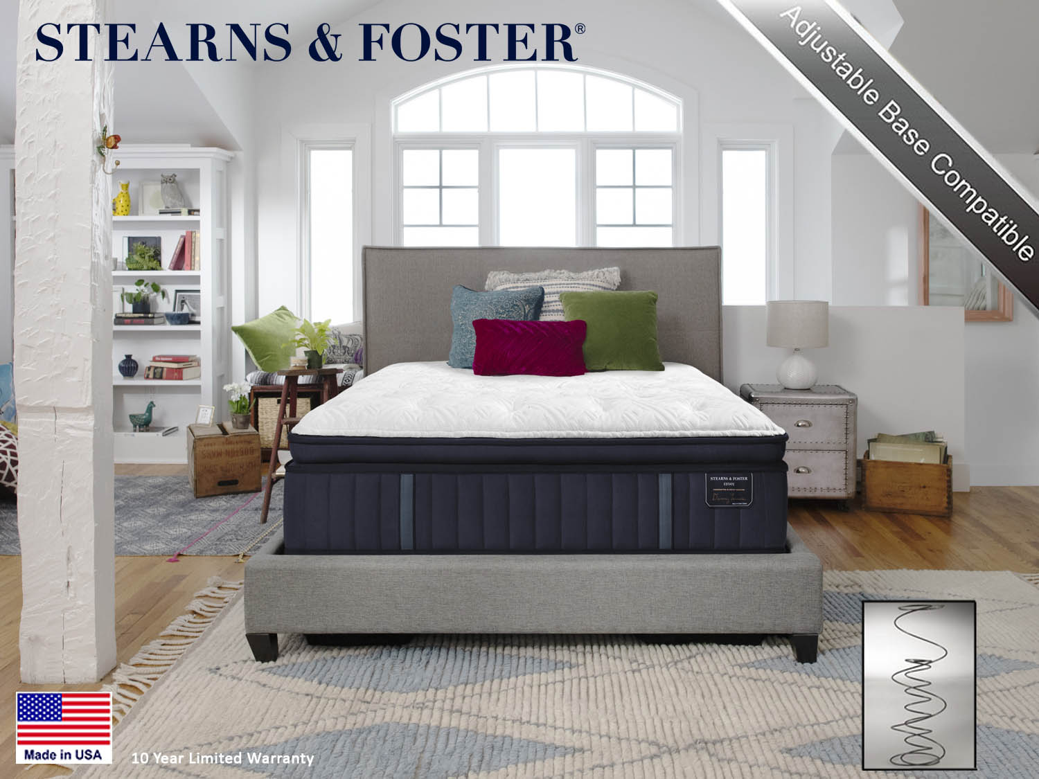Stearns & Foster, Sealy, Hurston Firm Euro Pillow Top, Estate, Mattress, Mattresses, Barbo's FurnitureEstate