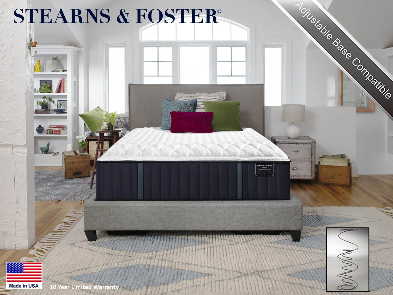 Stearns & Foster, Hurston FM, Firm, Estate, Mattress, Mattresses, Sealy, Barbo's Furniture